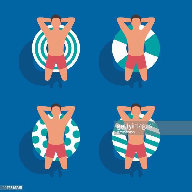 ilustraciones, imágenes clip art, dibujos animados e iconos de stock de anillos inflables con diferentes patrones - pool party