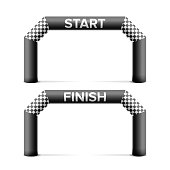 Inflatable Start, Finish Line Arch Vector. Place For Sponsors Advertising. Isolated On White Illustration