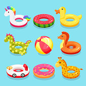 Inflatable swimming ring set