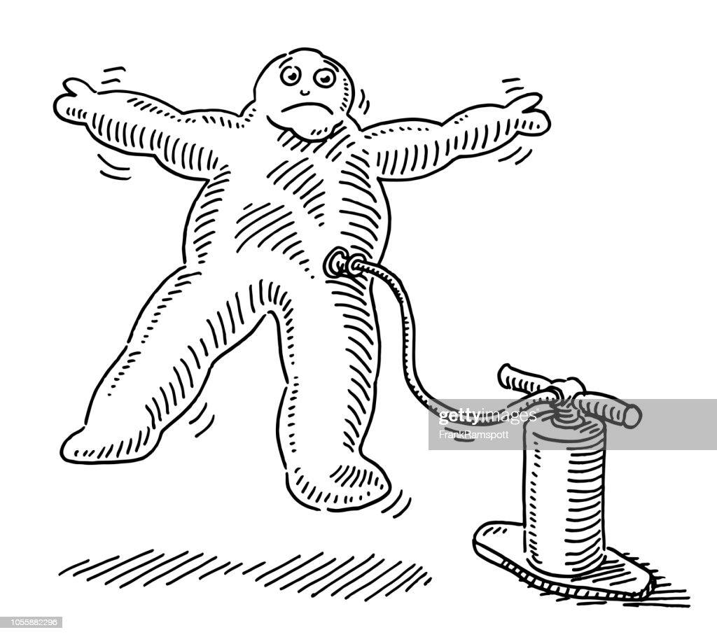 Aufgeblasenen geschwollene Comic Menschenfigur Zeichnung : Vektorgrafik