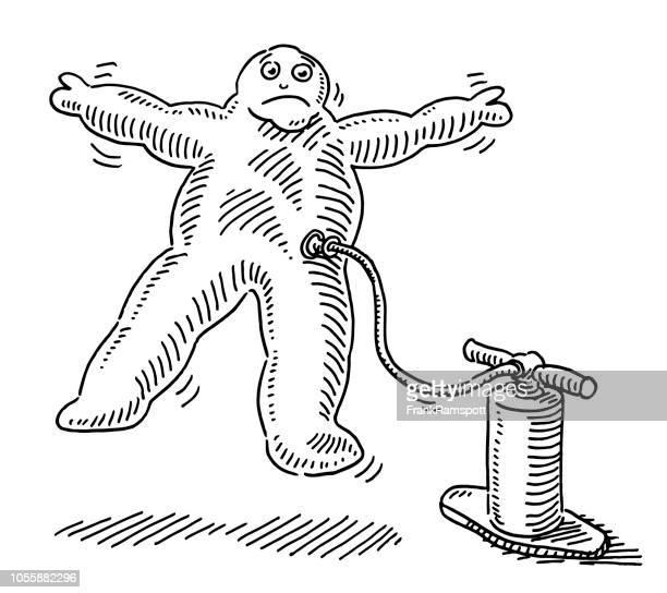 Aufgeblasenen geschwollene Comic Menschenfigur Zeichnung