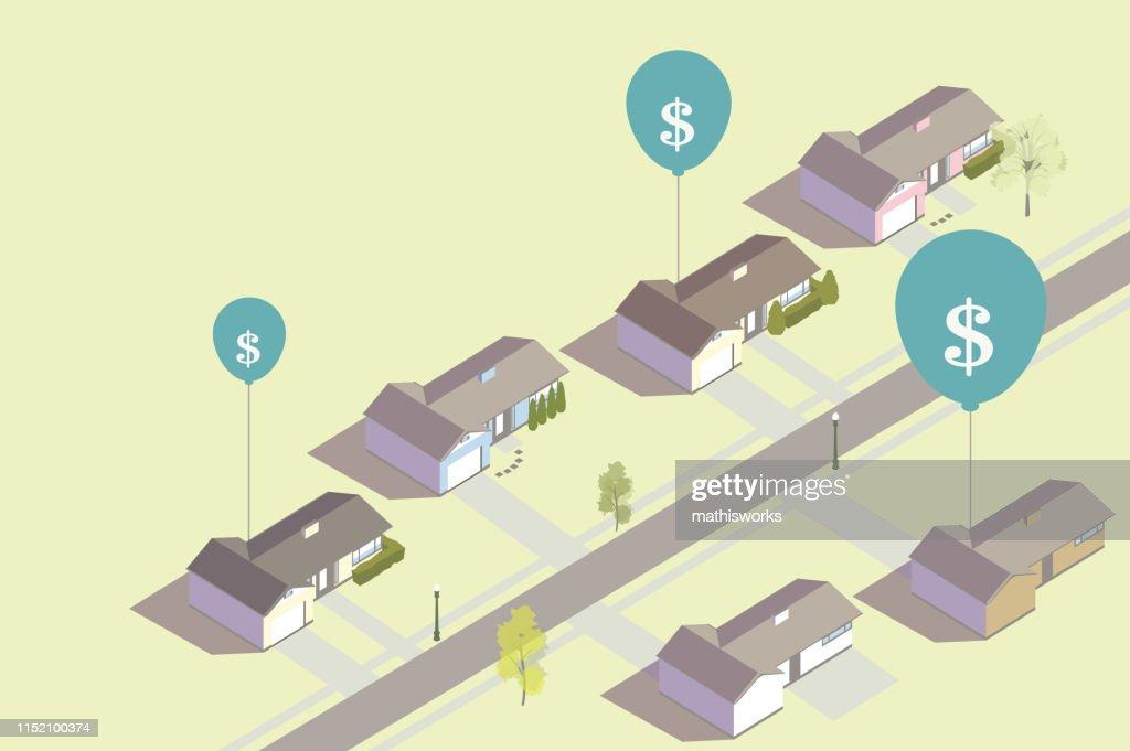 Inflating housing prices illustration : stock illustration