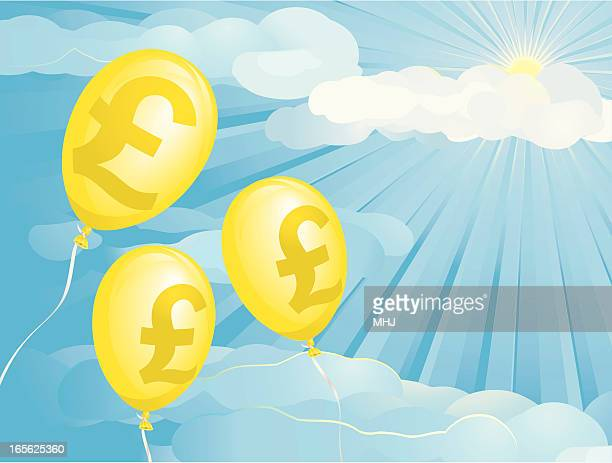 inflation pounds balloons - inflation stock illustrations