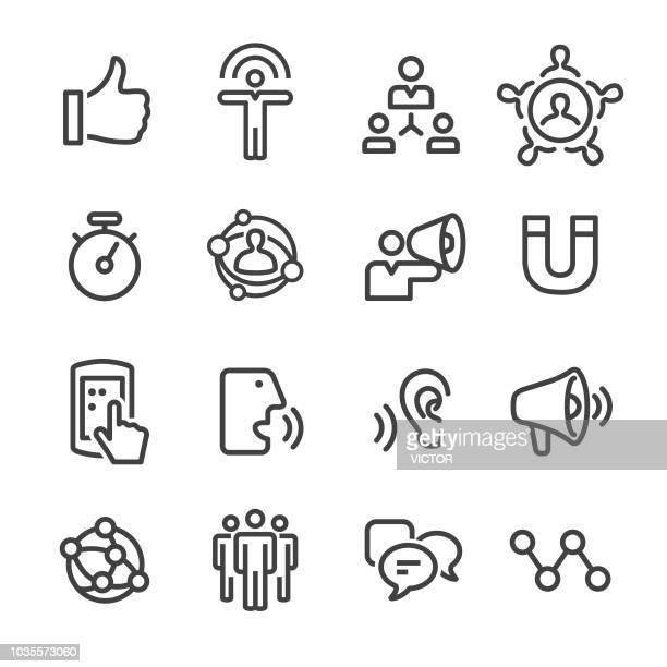 ilustrações, clipart, desenhos animados e ícones de ícones de marketing influenciador - linha série - persuasão
