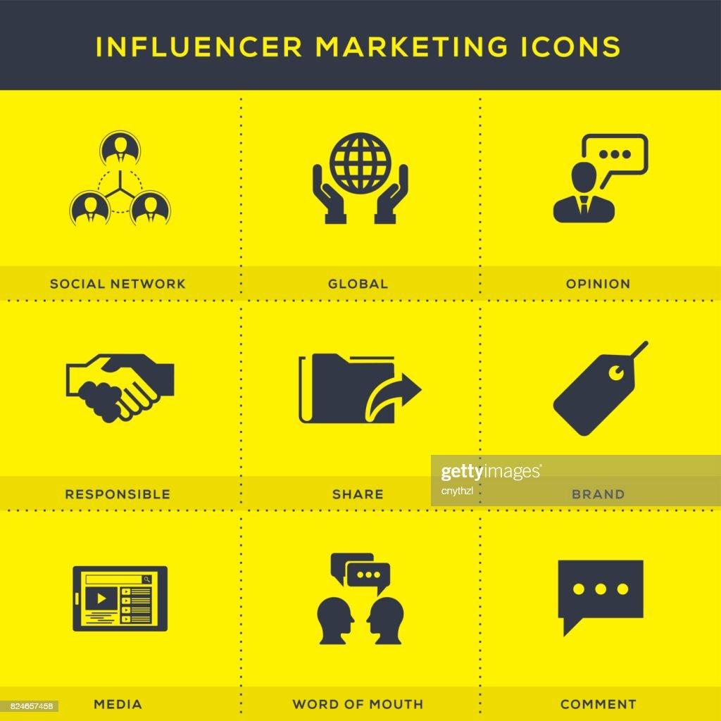 Influencer Marketing Icons Set