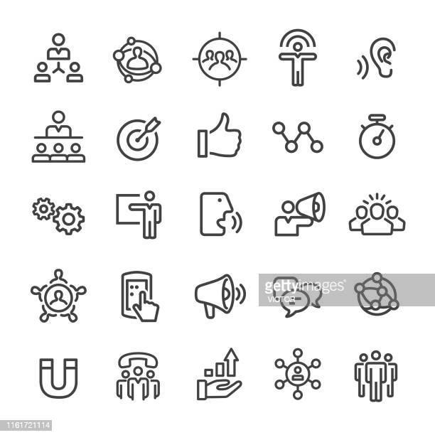 ilustraciones, imágenes clip art, dibujos animados e iconos de stock de iconos de marketing de influencer - smart line series - persuasión