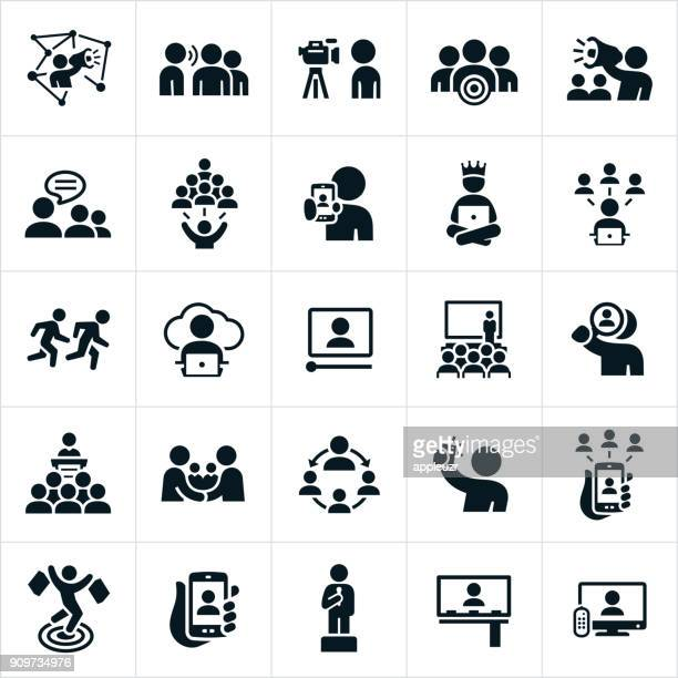 influencer marketing icons - influencer stock illustrations