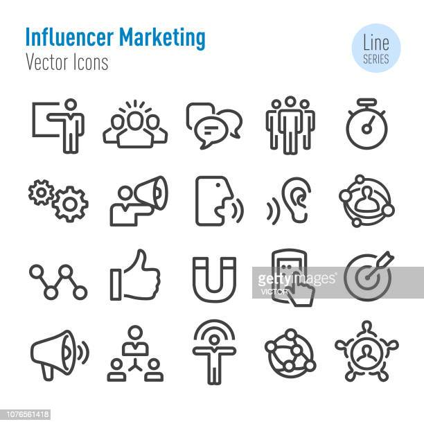 influencer marketing icons - vector line series - passion stock illustrations