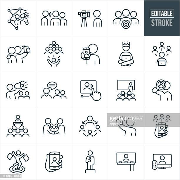 influencer marketing thin line icons - editable stroke - influencer stock illustrations