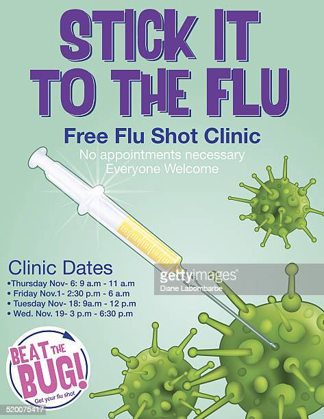 influenza shot poster template - cold and flu stock illustrations
