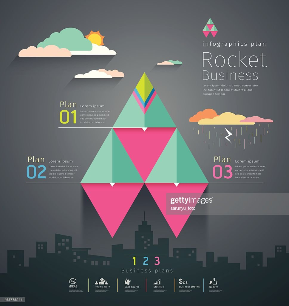 Info graphic business triangle rockets plan template