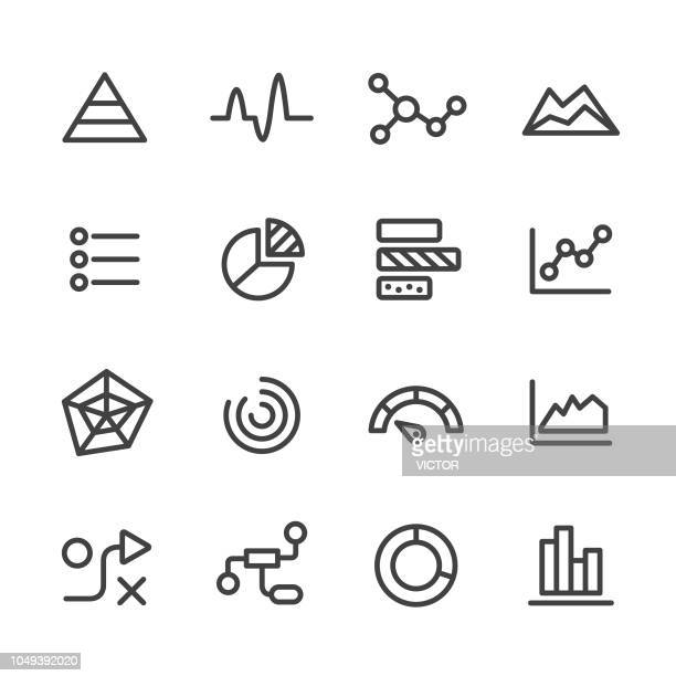 info graphic icons - line series - line graph stock illustrations