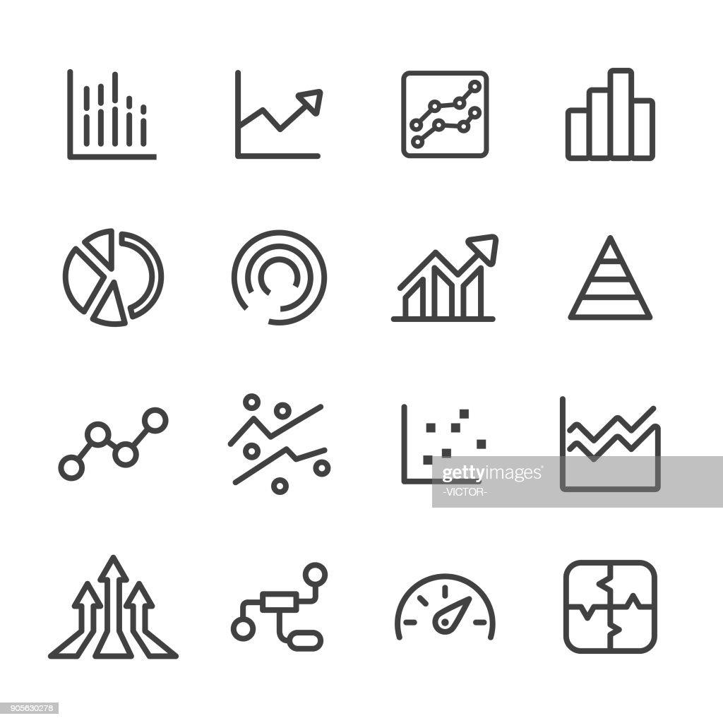 Iconos gráficos de la información - línea serie : Ilustración de stock