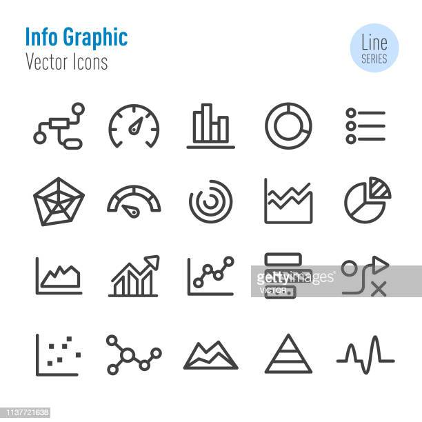 info graphic icons - vector line series - spreadsheet stock illustrations