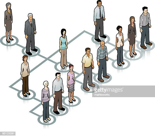 info graphic of a cartoon family tree on a white background - office politics stock illustrations, clip art, cartoons, & icons