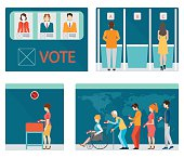 Info graphic of Voting booths with people waiting in line.