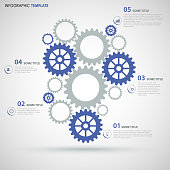 Info graphic with blue gray flat gear wheels design template