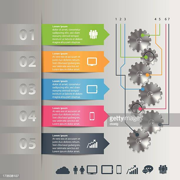 info graphic with gears - domino effect stock illustrations