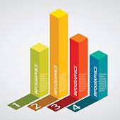 info graphics - colorful graph, square pillar, shadow