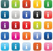 Info icon. 1 credits. Satin rounded square button white sign