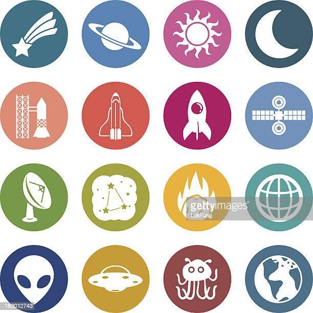 Info-Symbol: Astronomie und Weltraum-Elemente