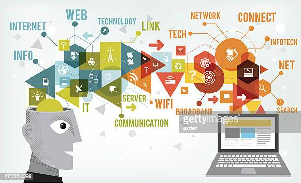 info tech idea - computer equipment stock illustrations