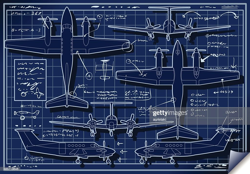 Infographic Airplane Blue Print Project
