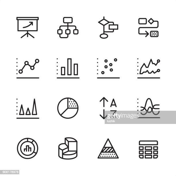 infographic and chart types - outline icon set - analysing stock illustrations