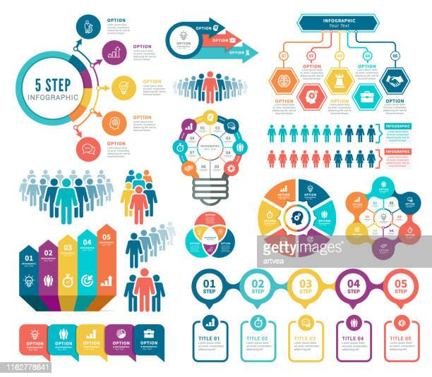 infographic and human resources elements - steps stock illustrations