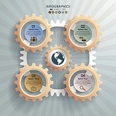 Infographic background of five mechanic cogwheels with options