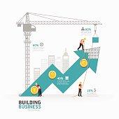Infographic business arrow shape template design.building