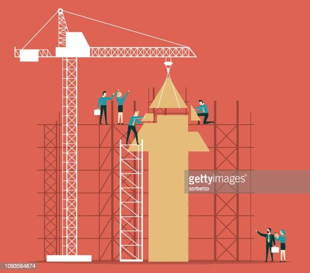 ilustraciones, imágenes clip art, dibujos animados e iconos de stock de flecha de negocios de infografía - sector de la construcción