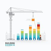 Infographic business graph template design.building to success