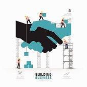 Infographic business handshake shape template design.building