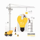 Infographic business light bulb shape template design.building