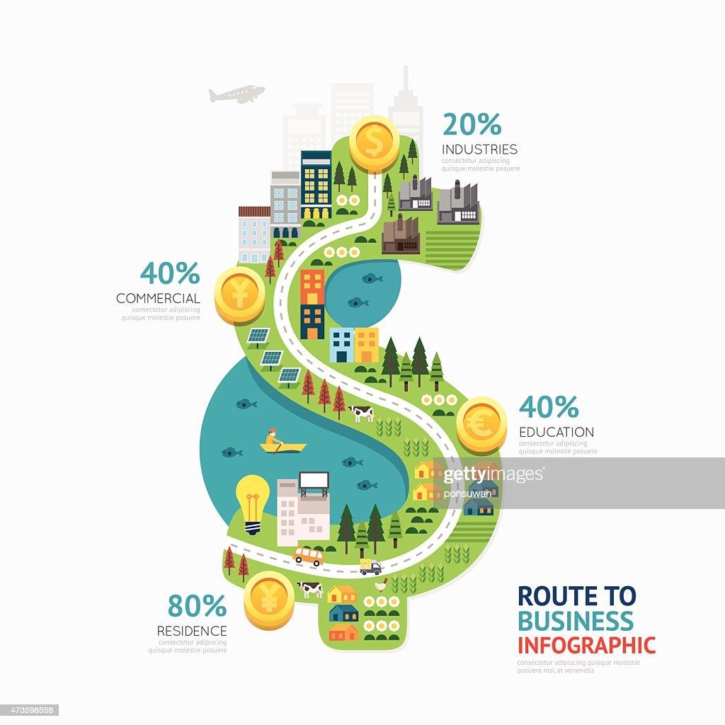 Infographic business money dollar shape template design.