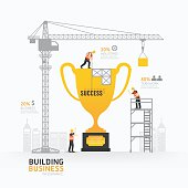 Infographic business trophies shape template design.