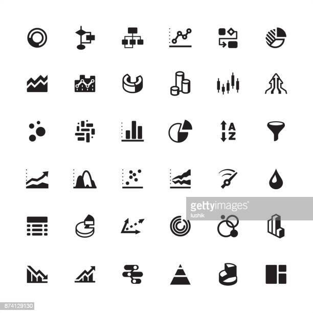 infographic chart and visual aid icon set - flow chart stock illustrations