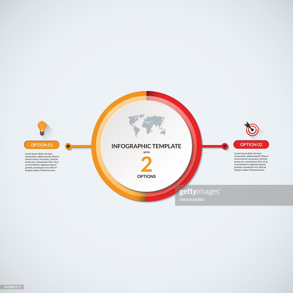 Infographic circle diagram template with 2 options