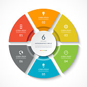 Infographic circle. Process chart. Vector diagram with 6 options. Can be used for graph, presentation, report, step options, web design.