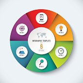 Infographic circle. Vector options banner with 6 steps