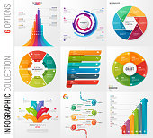 Infographic collection of 6 options vector templates for presentations