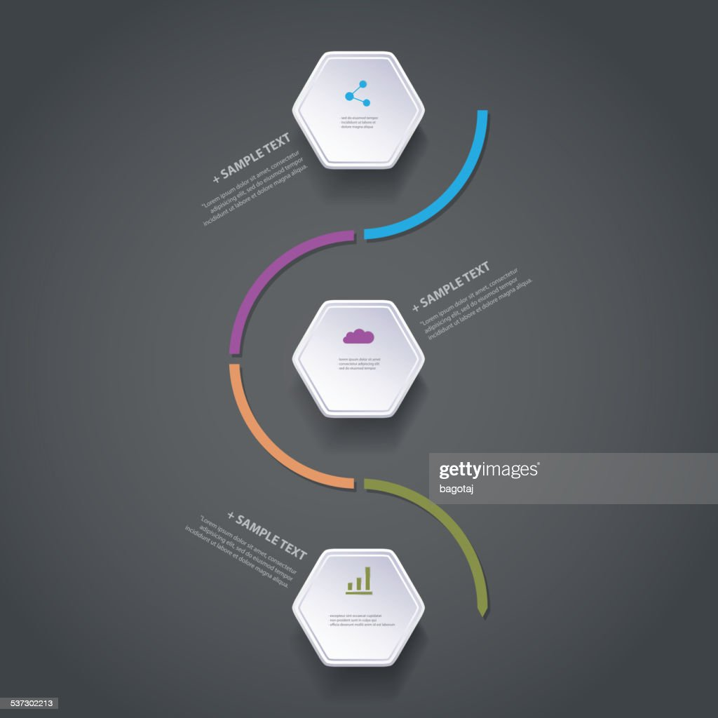 Infographic Concept - Flow Chart Design - Timeline with Hexagons