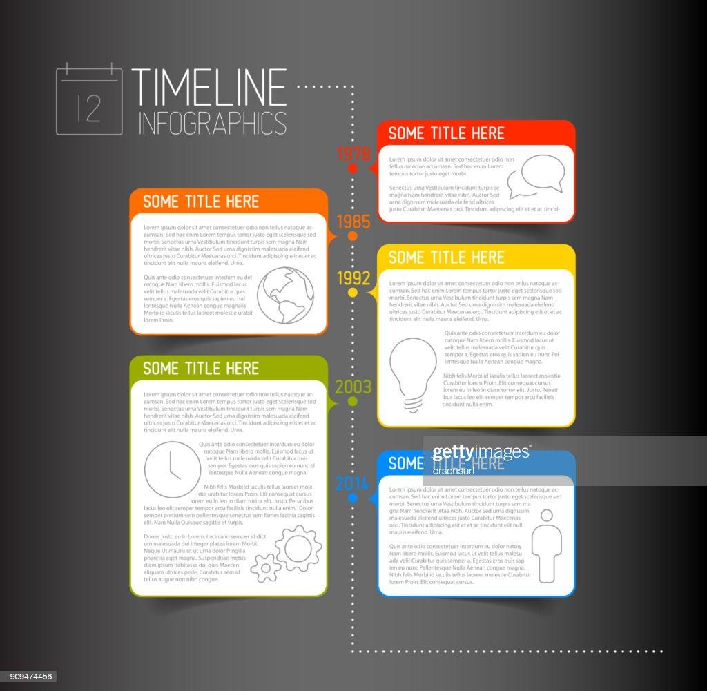 Infographic dark timeline report template with descriptive bubbles