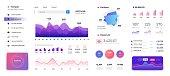 Infographic dashboard template. Admin panel ui, diagrams graphs and progress bars data statistics. Vector modern screen charts