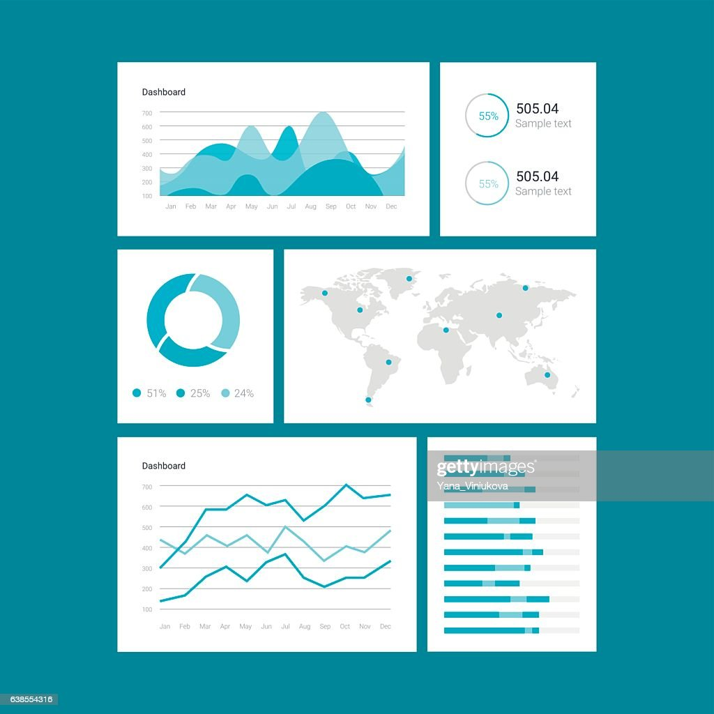 Infographic dashboard template with flat design graphs and charts. Processing