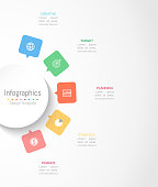 Infographic design elements for your business data with 5 options, parts, steps, timelines or processes. Circle round concept, Vector Illustration.