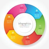 Infographic design elements for your business data with 6 options, parts, steps, timelines or processes, Arrow wheel circle style. Vector Illustration.