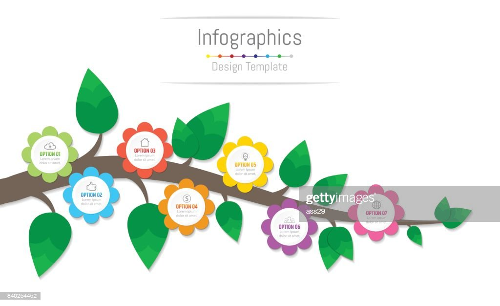 Infographic design elements for your business data with 7 options, parts, steps, timelines or processes, flowers and branch concept. Vector Illustration.