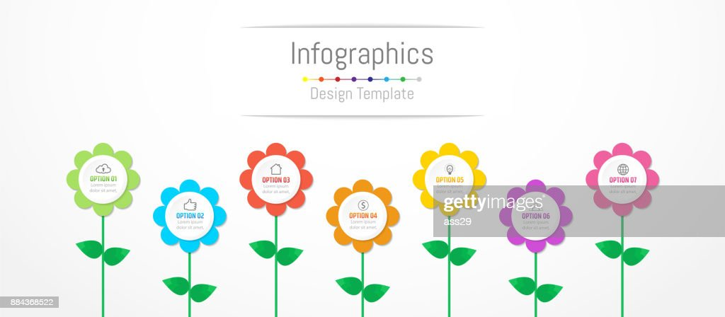 Infographic design elements for your business data with 7 options, parts, steps, timelines or processes, flowers concept. Vector Illustration.